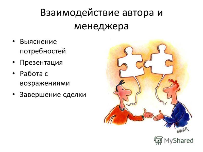 Взаимодействие автора и менеджера Выяснение потребностей Презентация Работа с возражениями Завершение сделки