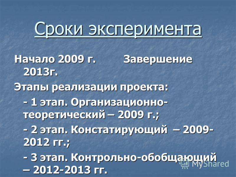 Сроки эксперимента Начало 2009 г. Завершение 2013г. Этапы реализации проекта: - 1 этап. Организационно- теоретический – 2009 г.; - 2 этап. Констатирующий – 2009- 2012 гг.; - 3 этап. Контрольно-обобщающий – 2012-2013 гг.