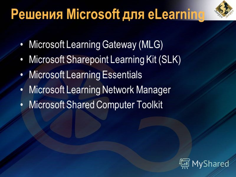 Решения Microsoft для eLearning Microsoft Learning Gateway (MLG) Microsoft Sharepoint Learning Kit (SLK) Microsoft Learning Essentials Microsoft Learning Network Manager Microsoft Shared Computer Toolkit