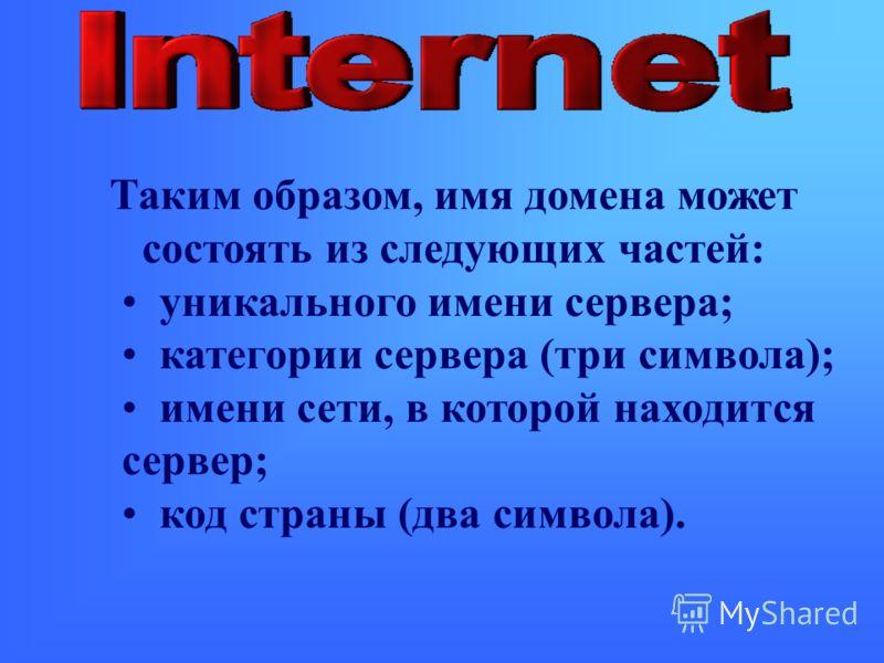 Таким образом, имя домена может состоять из следующих частей: уникального имени сервера; категории сервера (три символа); имени сети, в которой находится сервер; код страны (два символа).