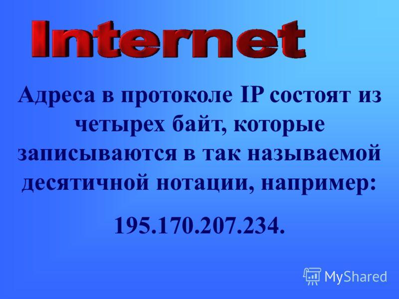 Адреса в протоколе IP состоят из четырех байт, которые записываются в так называемой десятичной нотации, например: 195.170.207.234.