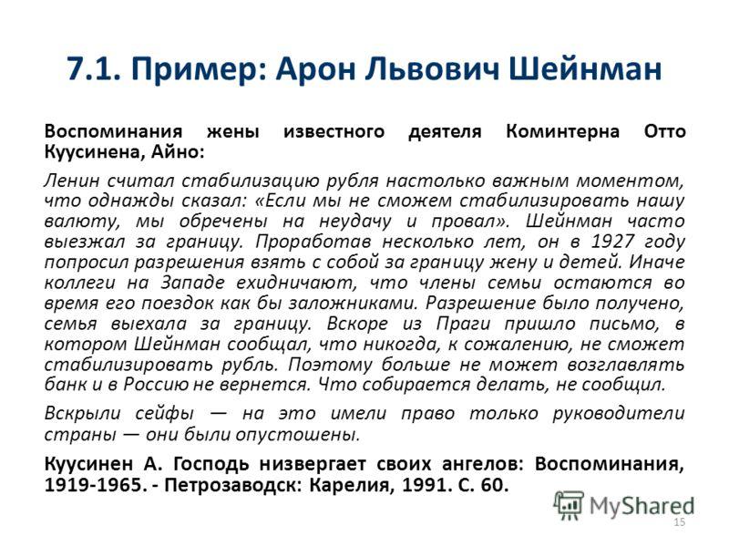 7.1. Пример: Арон Львович Шейнман Воспоминания жены известного деятеля Коминтерна Отто Куусинена, Айно: Ленин считал стабилизацию рубля настолько важным моментом, что однажды сказал: «Если мы не сможем стабилизировать нашу валюту, мы обречены на неуд