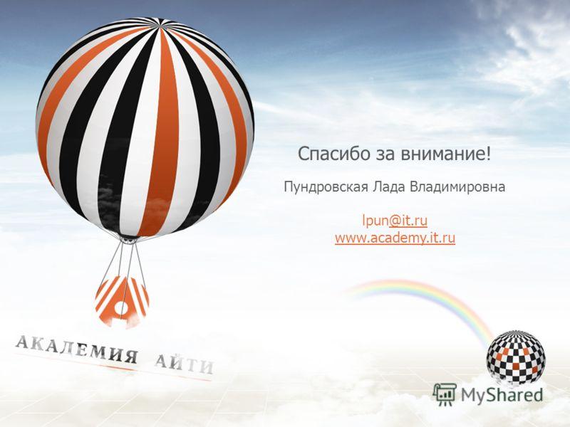Спасибо за внимание! Пундровская Лада Владимировна lpun@it.ru@it.ru www.academy.it.ru