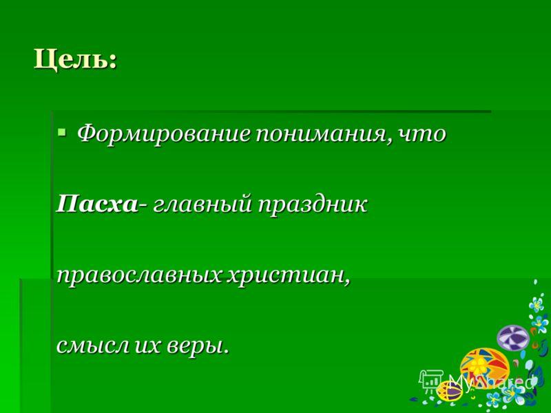 Цель: Формирование понимания, что Формирование понимания, что Пасха- главный праздник православных христиан, смысл их веры.