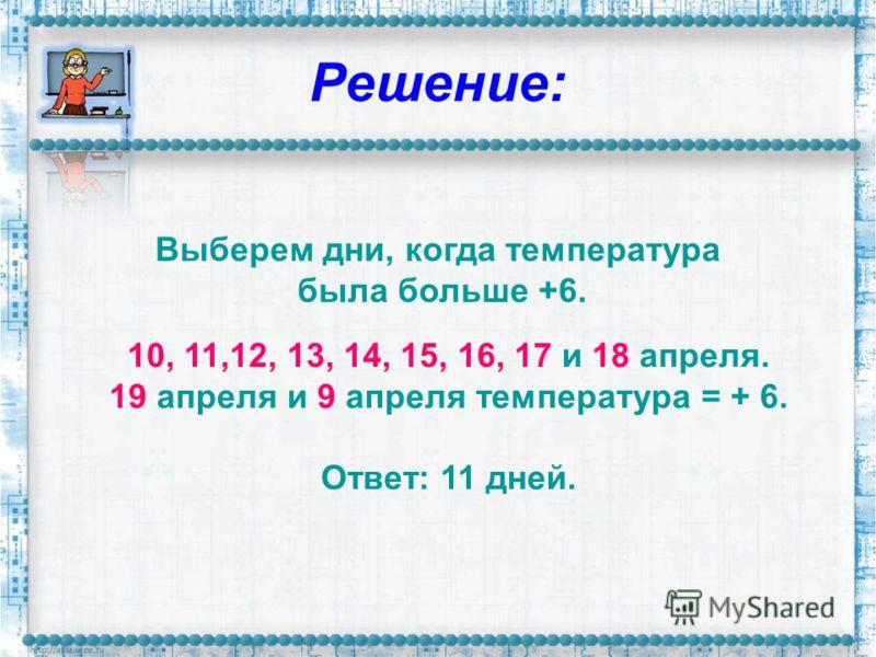 Решение: Выберем дни, когда температура была больше +6. 10, 11,12, 13, 14, 15, 16, 17 и 18 апреля. 19 апреля и 9 апреля температура = + 6. Ответ: 11 дней.