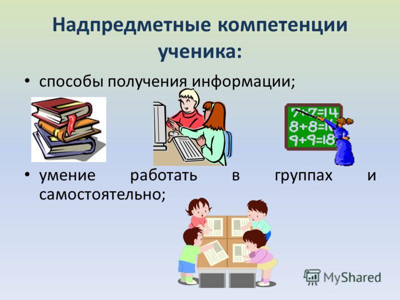 Надпредметные компетенции ученика: способы получения информации; умение работать в группах и самостоятельно;