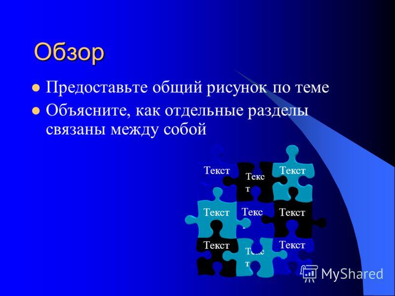 Обзор Предоставьте общий рисунок по теме Объясните, как отдельные разделы связаны между собой Текст