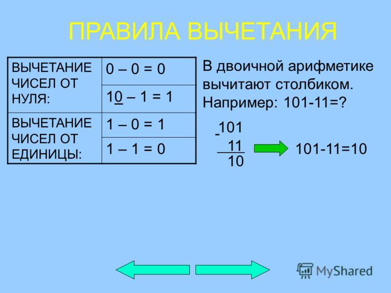 ВЫЧЕТАНИЕ ЧИСЕЛ ОТ НУЛЯ: 0 – 0 = 0 10 – 1 = 1 ВЫЧЕТАНИЕ ЧИСЕЛ ОТ ЕДИНИЦЫ: 1 – 0 = 1 1 – 1 = 0 В двоичной арифметике вычитают столбиком. Например: 101-11=? ПРАВИЛА ВЫЧЕТАНИЯ 101 11 - 10 101-11=10