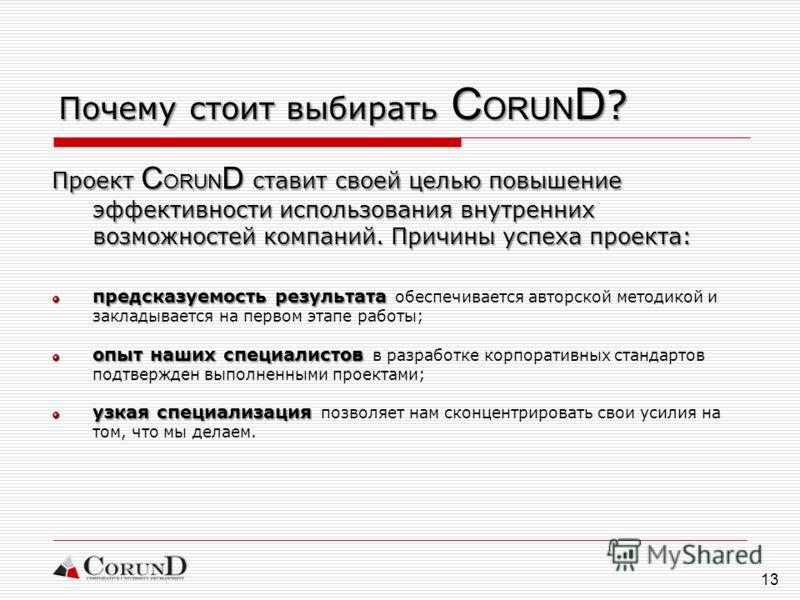 13 Почему стоит выбирать C ORUN D ? Проект C ORUN D ставит своей целью повышение эффективности использования внутренних возможностей компаний. Причины успеха проекта: предсказуемость результата предсказуемость результата обеспечивается авторской мето