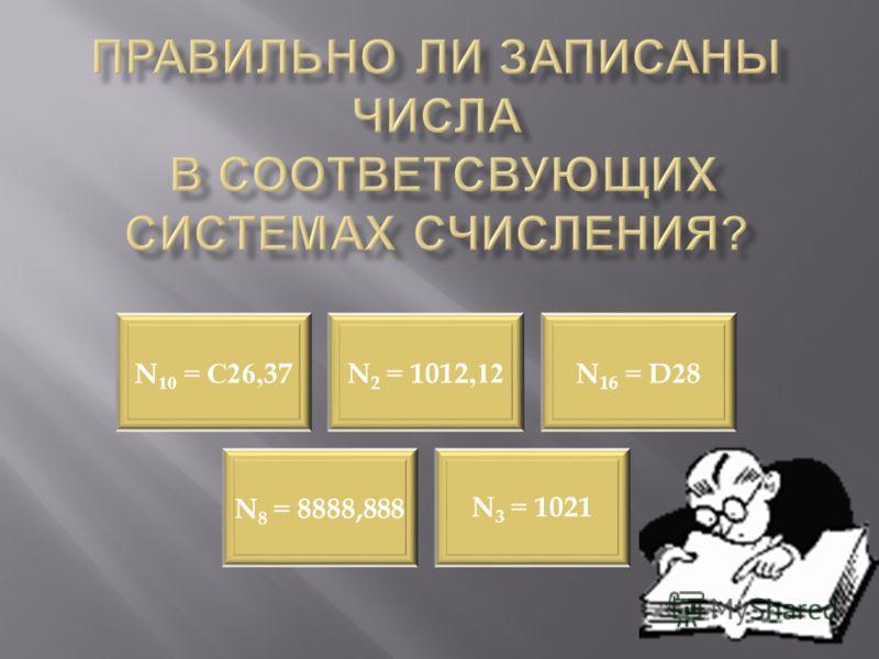 N10 = С26,37 N2 = 1012,12 N16 = D28 N8 = 8888,888 N3 = 1021