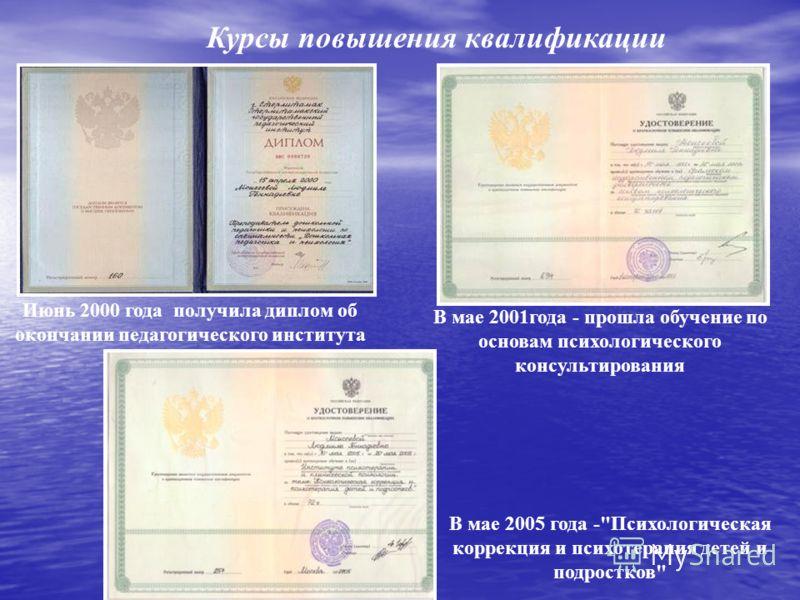 Курсы повышения квалификации Июнь 2000 года получила диплом об окончании педагогического института В мае 2001года - прошла обучение по основам психологического консультирования В мае 2005 года -