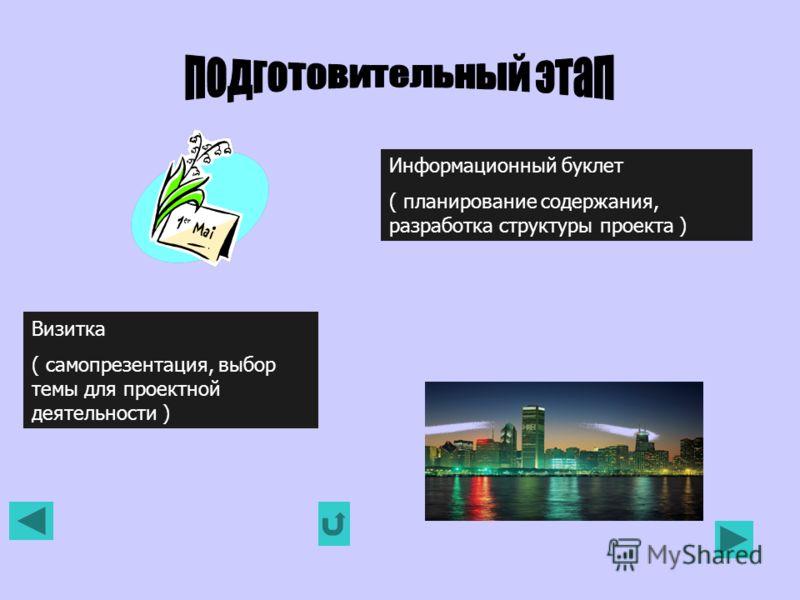 Визитка ( самопрезентация, выбор темы для проектной деятельности ) Информационный буклет ( планирование содержания, разработка структуры проекта )
