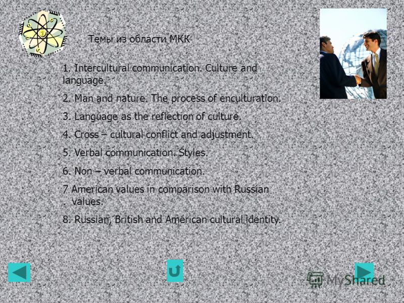 Темы из области МКК 1. Intercultural communication. Culture and language. 2. Man and nature. The process of enculturation. 3. Language as the reflection of culture. 4. Cross – cultural conflict and adjustment. 5. Verbal communication. Styles. 6. Non