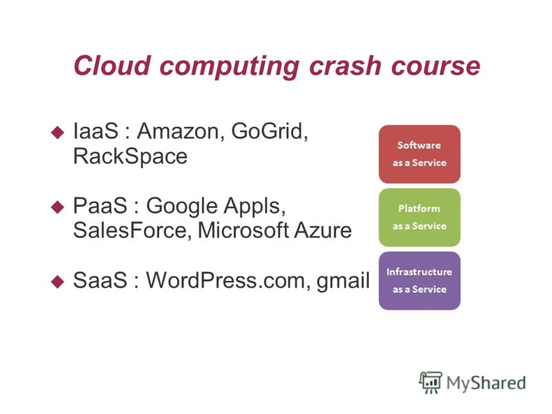 Cloud computing crash course IaaS : Amazon, GoGrid, RackSpace PaaS : Google Appls, SalesForce, Microsoft Azure SaaS : WordPress.com, gmail