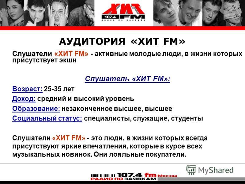 АУДИТОРИЯ «ХИТ FM» Слушатели «ХИТ FM» Слушатели «ХИТ FM» - активные молодые люди, в жизни которых присутствует экшн Слушатель «ХИТ FM»: Возраст: 25-35 лет Доход: средний и высокий уровень Образование: незаконченное высшее, высшее Социальный статус: с