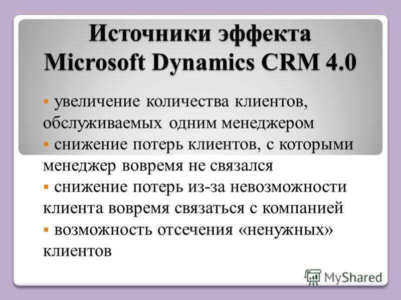 Источники эффекта Microsoft Dynamics CRM 4.0 увеличение количества клиентов, обслуживаемых одним менеджером снижение потерь клиентов, с которыми менеджер вовремя не связался снижение потерь из-за невозможности клиента вовремя связаться с компанией во