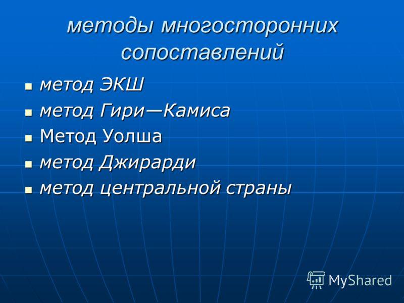 методы многосторонних сопоставлений метод ЭКШ метод ЭКШ метод ГириКамиса метод ГириКамиса Метод Уолша Метод Уолша метод Джирарди метод Джирарди метод центральной страны метод центральной страны
