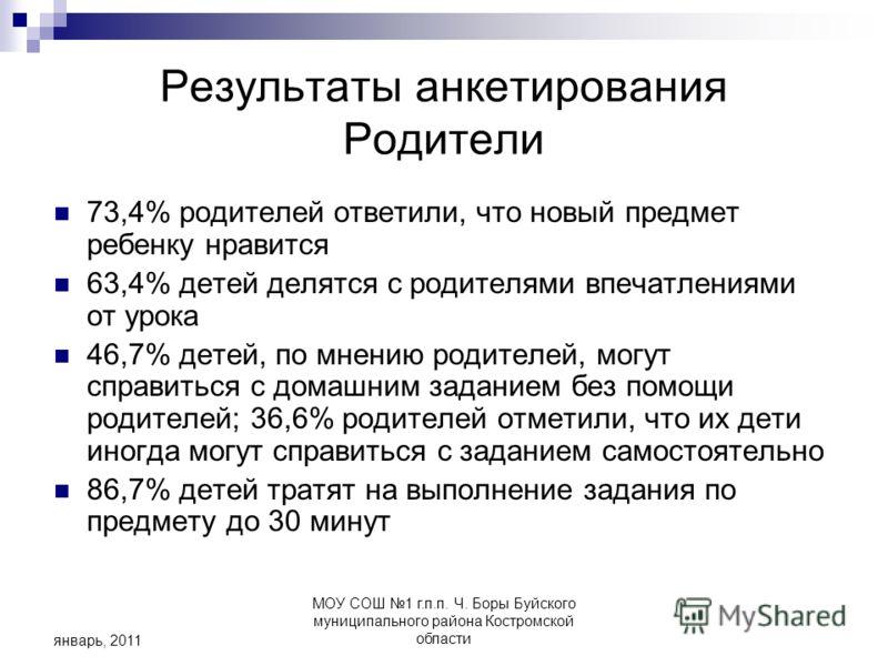 МОУ СОШ 1 г.п.п. Ч. Боры Буйского муниципального района Костромской области январь, 2011 Результаты анкетирования Родители 73,4% родителей ответили, что новый предмет ребенку нравится 63,4% детей делятся с родителями впечатлениями от урока 46,7% дете