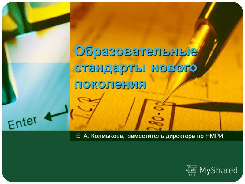 Образовательные стандарты нового поколения Е. А. Колмыкова, заместитель директора по НМРИ