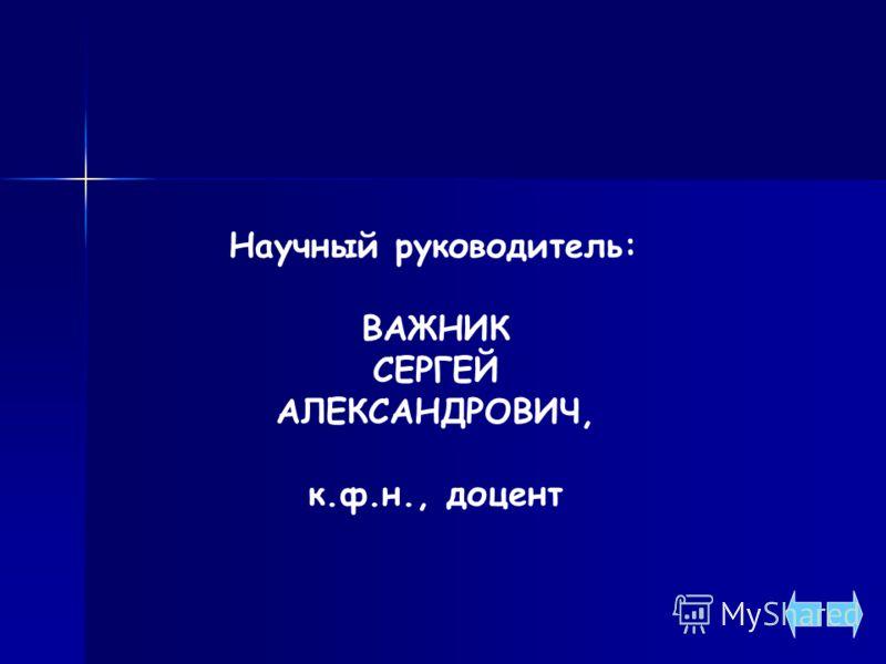 Научный руководитель: ВАЖНИК СЕРГЕЙ АЛЕКСАНДРОВИЧ, к.ф.н., доцент