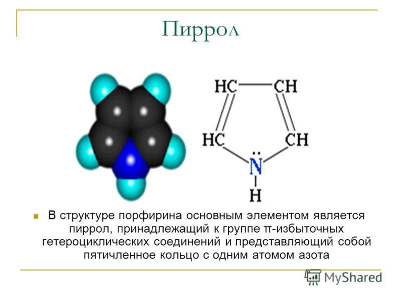 Пиррол В структуре порфирина основным элементом является пиррол, принадлежащий к группе π-избыточных гетероциклических соединений и представляющий собой пятичленное кольцо с одним атомом азота