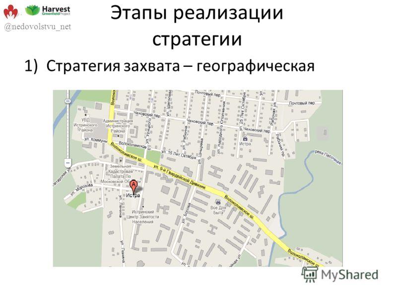 Этапы реализации стратегии 1)Стратегия захвата – географическая @nedovolstvu_net