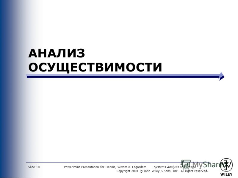 PowerPoint Presentation for Dennis, Wixom & Tegardem Systems Analysis and Design Copyright 2001 © John Wiley & Sons, Inc. All rights reserved. Slide 10 АНАЛИЗ ОСУЩЕСТВИМОСТИ