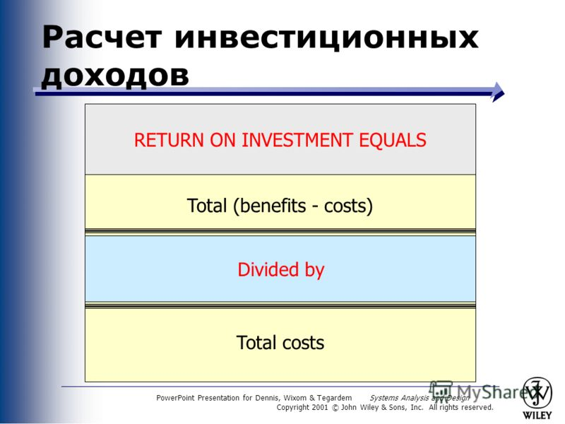 PowerPoint Presentation for Dennis, Wixom & Tegardem Systems Analysis and Design Copyright 2001 © John Wiley & Sons, Inc. All rights reserved. Total (benefits - costs) Расчет инвестиционных доходов Total costs RETURN ON INVESTMENT EQUALS Divided by