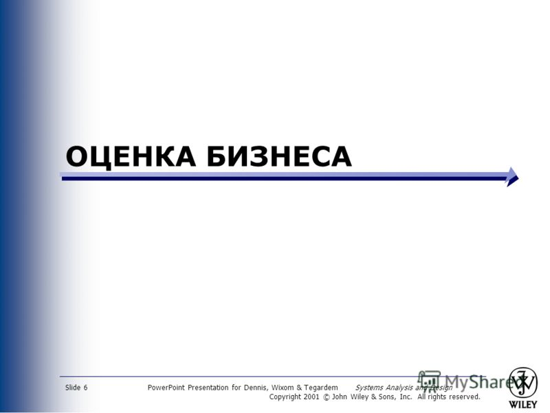 PowerPoint Presentation for Dennis, Wixom & Tegardem Systems Analysis and Design Copyright 2001 © John Wiley & Sons, Inc. All rights reserved. Slide 6 ОЦЕНКА БИЗНЕСА
