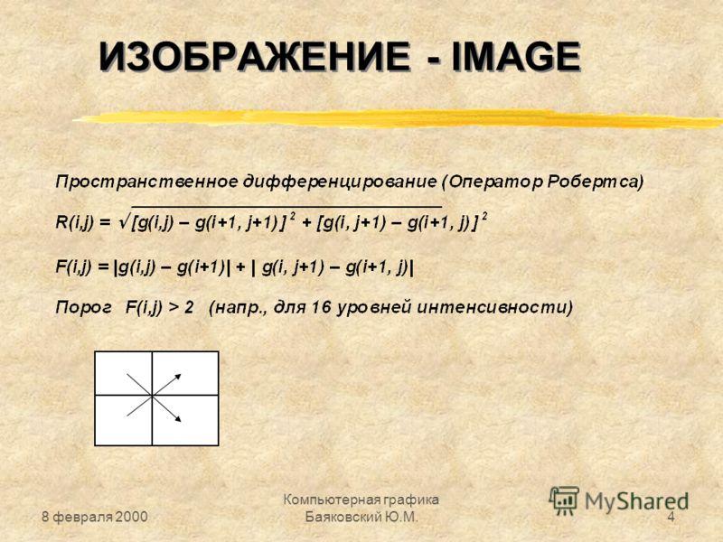 8 февраля 2000 Компьютерная графика Баяковский Ю.М.4 ИЗОБРАЖЕНИЕ - IMAGE