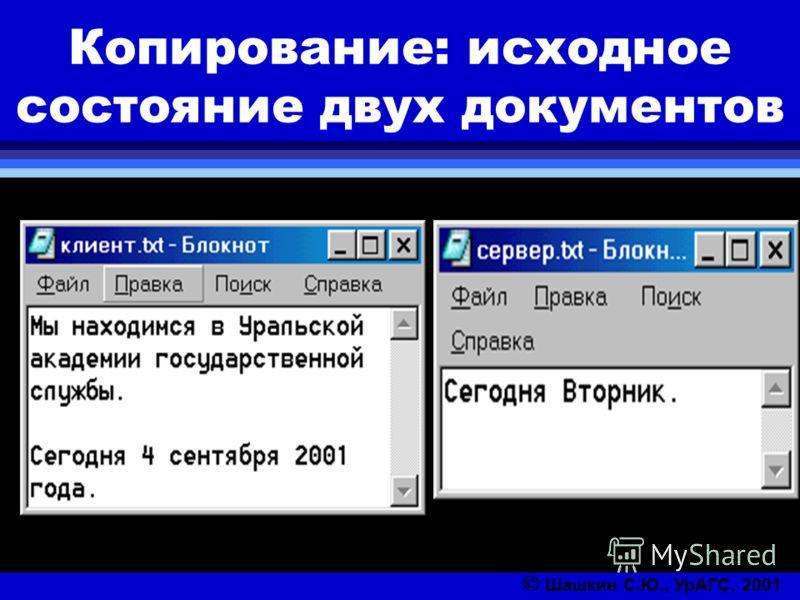 Копирование: исходное состояние двух документов Шашкин С.Ю., УрАГС, 2001