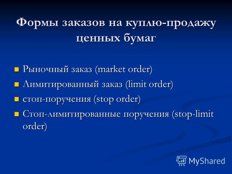 Формы заказов на куплю-продажу ценных бумаг Рыночный заказ (market order) Рыночный заказ (market order) Лимитированный заказ (limit order) Лимитированный заказ (limit order) стоп-поручения (stop order) стоп-поручения (stop order) Стоп-лимитированные