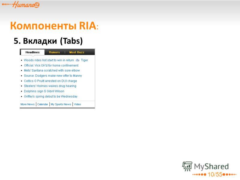 10/55 5. Вкладки (Tabs) Компоненты RIA :