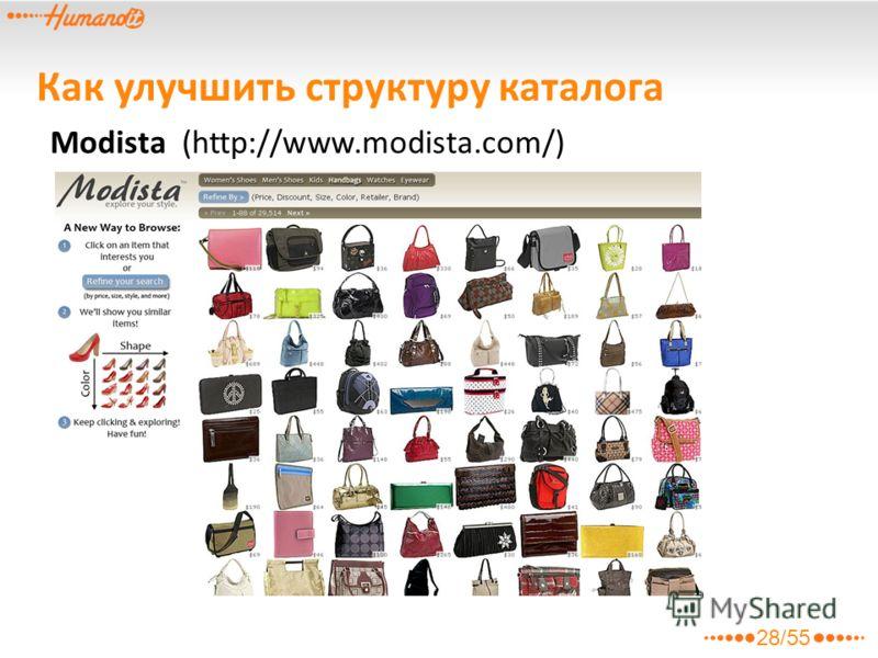 Modista (http://www.modista.com/) Как улучшить структуру каталога 28/55