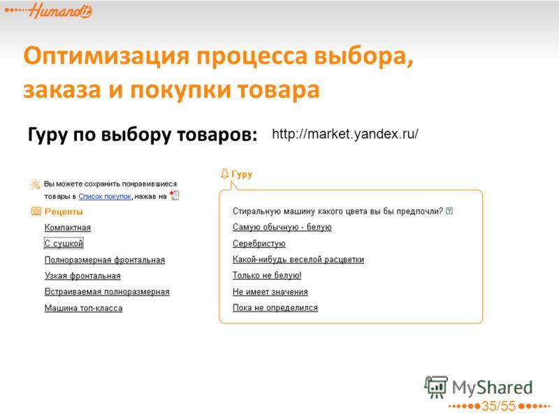 Оптимизация процесса выбора, заказа и покупки товара Гуру по выбору товаров: http://market.yandex.ru/ 35/55