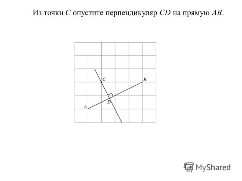 Из точки C опустите перпендикуляр CD на прямую AB.