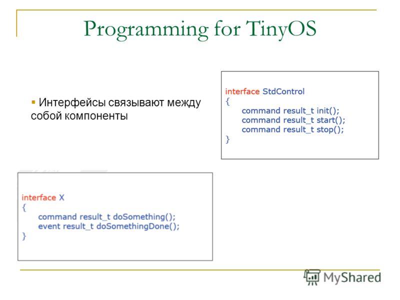 Programming for TinyOS Интерфейсы связывают между собой компоненты