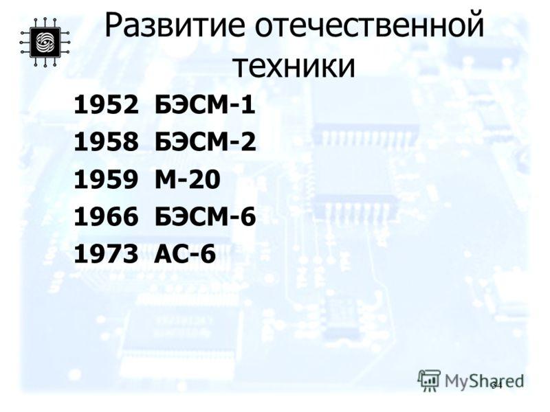 34 Развитие отечественной техники 1952 БЭСМ-1 1958 БЭСМ-2 1959 М-20 1966 БЭСМ-6 1973 АС-6