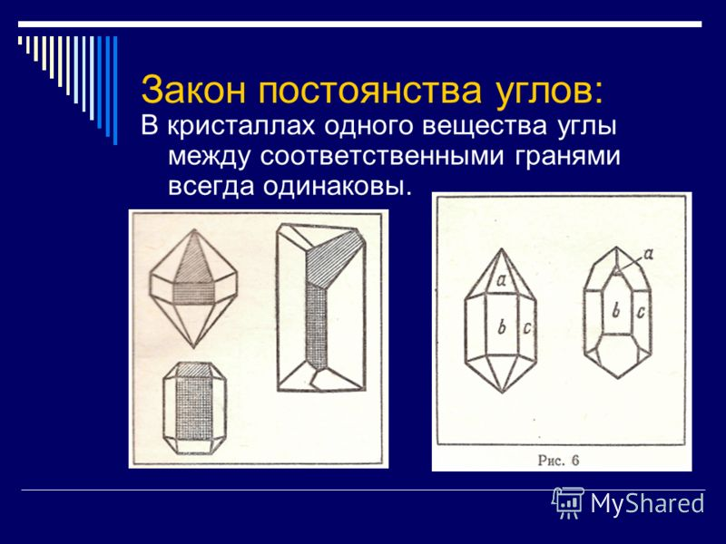 Закон постоянства углов: В кристаллах одного вещества углы между соответственными гранями всегда одинаковы.