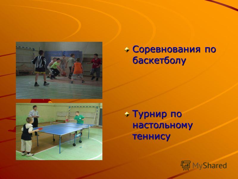 Соревнования по баскетболу Турнир по настольному теннису