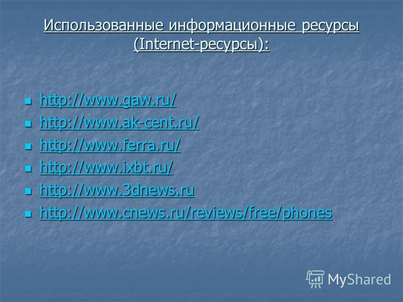 Использованные информационные ресурсы (Internet-ресурсы): http://www.gaw.ru/ http://www.gaw.ru/ http://www.gaw.ru/ http://www.ak-cent.ru/ http://www.ak-cent.ru/ http://www.ak-cent.ru/ http://www.ferra.ru/ http://www.ferra.ru/ http://www.ferra.ru/ htt