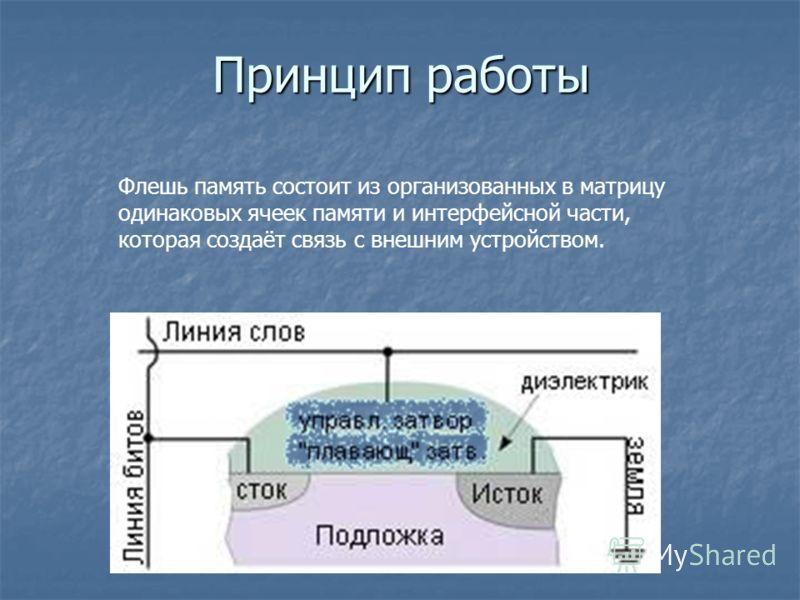 Принцип работы Флешь память состоит из организованных в матрицу одинаковых ячеек памяти и интерфейсной части, которая создаёт связь с внешним устройством.