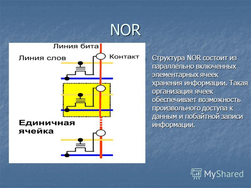 NOR Структура NOR состоит из параллельно включенных элементарных ячеек хранения информации. Такая организация ячеек обеспечивает возможность произвольного доступа к данным и побайтной записи информации. Структура NOR состоит из параллельно включенных