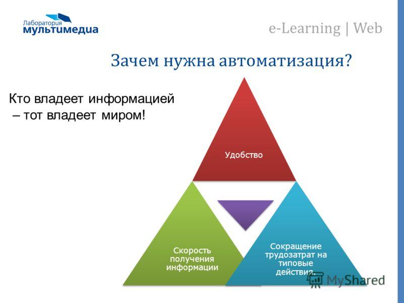 e-Learning | Web Зачем нужна автоматизация? Удобство Скорость получения информации Сокращение трудозатрат на типовые действия. Кто владеет информацией – тот владеет миром!