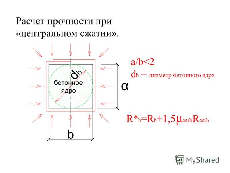Расчет прочности при «центральном сжатии». a/b