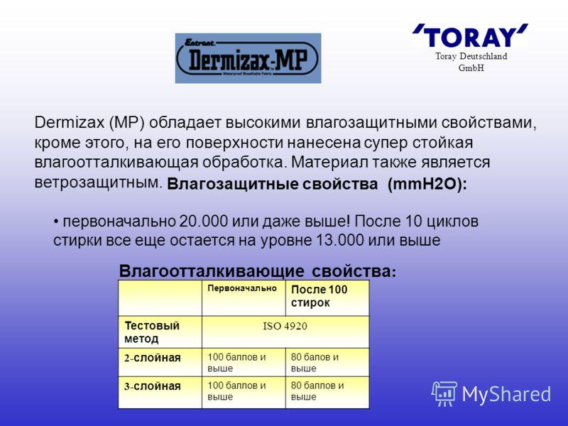 Toray Deutschland GmbH Dermizax (MP) обладает высокими влагозащитными свойствами, кроме этого, на его поверхности нанесена супер стойкая влагоотталкивающая обработка. Материал также является ветрозащитным. Влагозащитные свойства (mmH2O): первоначальн