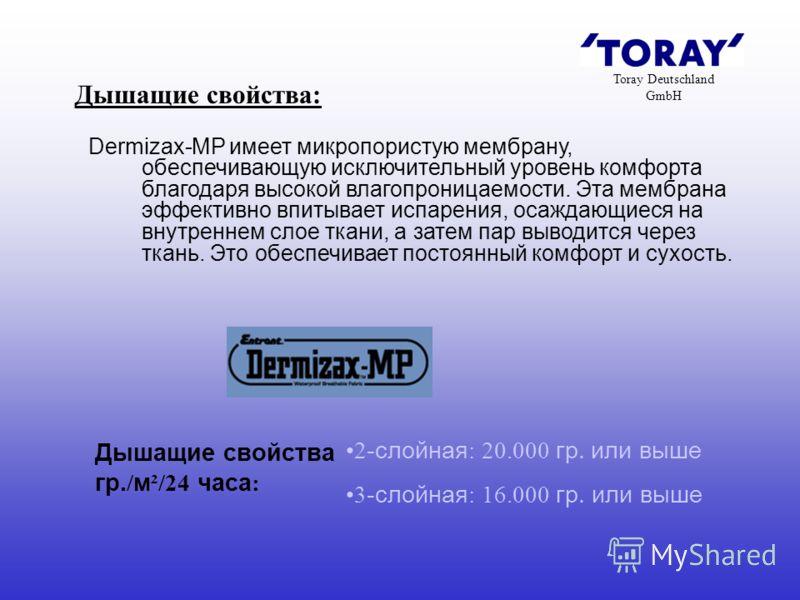 Toray Deutschland GmbH Дышащие свойства: Dermizax-MP имеет микропористую мембрану, обеспечивающую исключительный уровень комфорта благодаря высокой влагопроницаемости. Эта мембрана эффективно впитывает испарения, осаждающиеся на внутреннем слое ткани