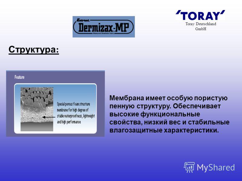 Toray Deutschland GmbH Мембрана имеет особую пористую пенную структуру. Обеспечивает высокие функциональные свойства, низкий вес и стабильные влагозащитные характеристики. Структура: