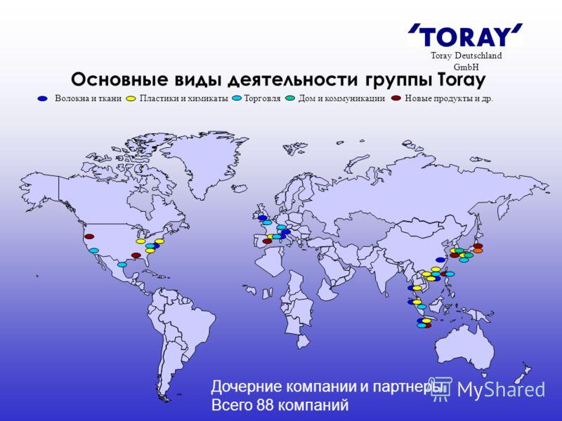 Основные виды деятельности группы Toray Волокна и ткани Пластики и химикаты Торговля Дом и коммуникации Новые продукты и др. Toray Deutschland GmbH Дочерние компании и партнеры Всего 88 компаний