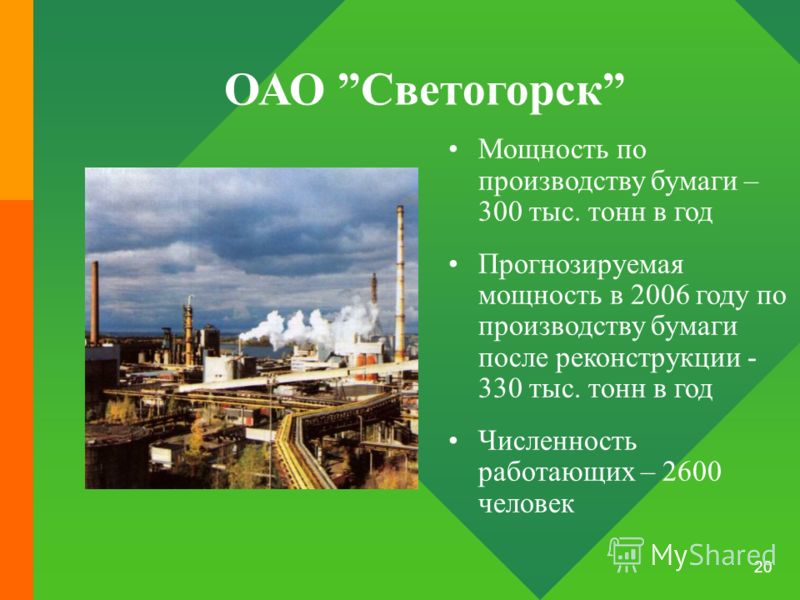 20 ОАО Светогорск Мощность по производству бумаги – 300 тыс. тонн в год Прогнозируемая мощность в 2006 году по производству бумаги после реконструкции - 330 тыс. тонн в год Численность работающих – 2600 человек